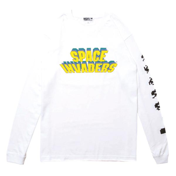 SPACE INVADERS LONG SLEEVE TEE WHITE